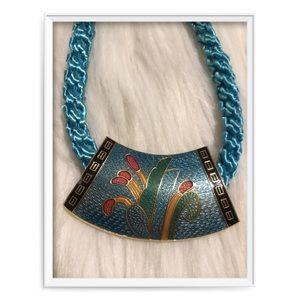 Vintage Cloisonné Statement Art Deco Necklace